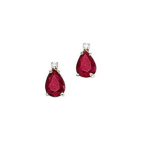 Pearshape Rubies 1.60ct TW and Diamond 14kt Gold Earrings