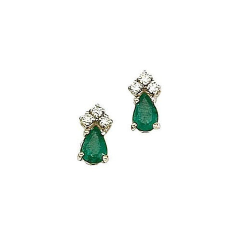 14kt Gold, Emerald and Diamond Earrings 0.85ct TW