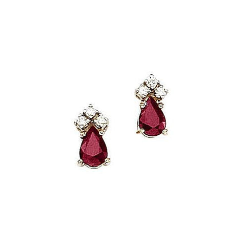 14kt Gold, Ruby and Diamond Earrings 1ct TW