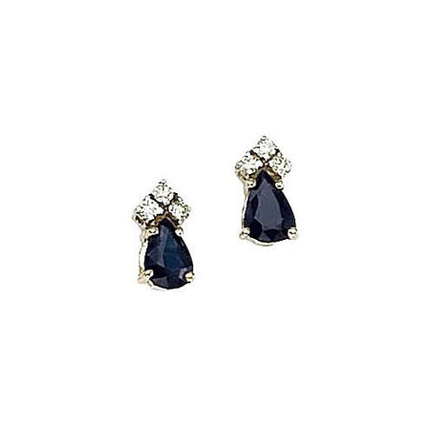 14kt Gold, Blue Sapphire and Diamond Earrings 1ct TW
