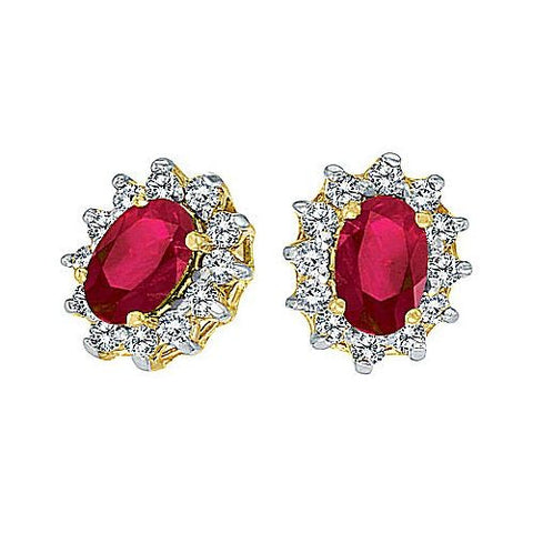 14kt Gold, Ruby and Diamond Earrings