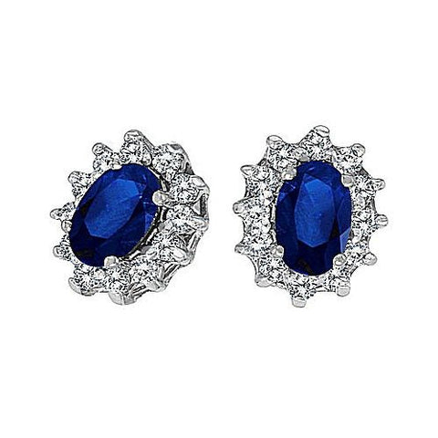 14kt Gold, Blue Sapphire and Diamond Earrings