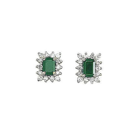 14kt Yellow Gold Diamond and Emerald Cut Emerald Earrings