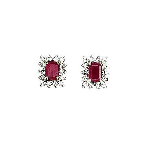14kt Yellow Gold Diamond and Emerald Cut Ruby Earrings