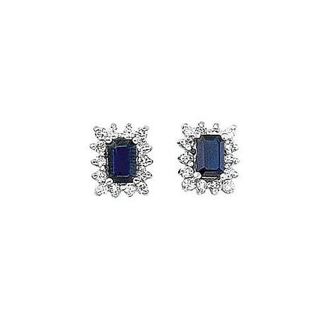 14kt White Gold Diamond and Emerald Cut Blue Sapphire Earrings