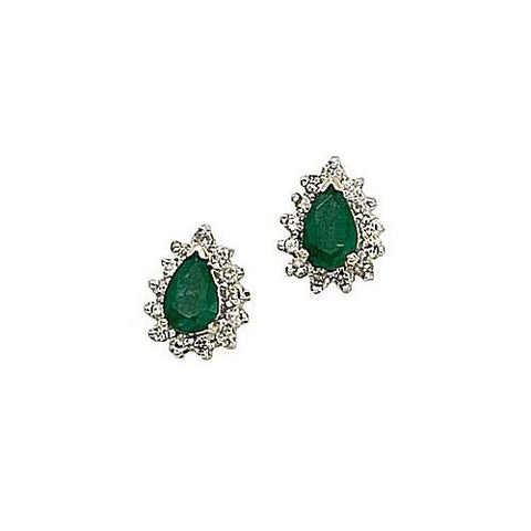 14kt Gold Diamond and Pearshape Emerald Earrings 1.13ct TW