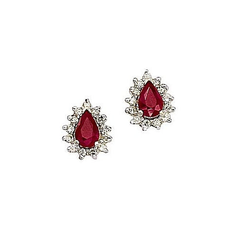 14kt Gold Diamond and Pearshape Ruby Earrings 1.23ct TW