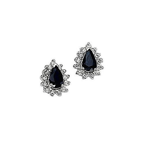 14kt Gold Diamond and Pearshape Sapphire Earrings 1.23ct TW