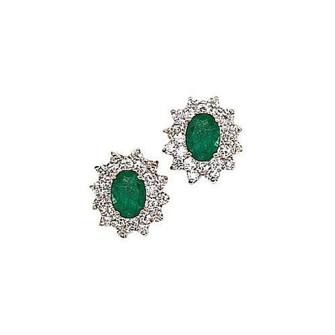 14kt Yellow Gold Diamond and Oval Emerald Earrings 2.50ct TW