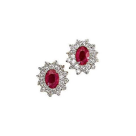 14kt Yellow Gold Diamond and Oval Ruby Earrings 3ct TW