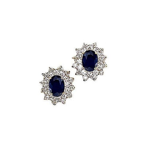 14kt Yellow Gold Diamond and Oval Blue Sapphire Earrings 3ct TW