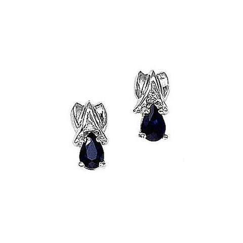 14kt Gold Diamond and Pearshape Sapphire Earrings 1ct TW