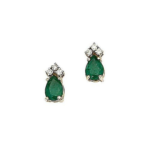 14kt Yellow Gold Diamond, Pearshape Emerald Earrings 1.52ct TW