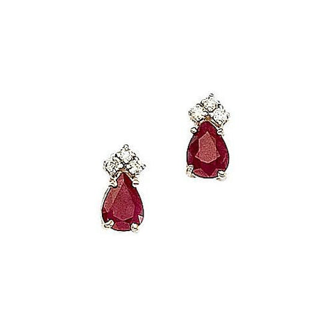 14kt Yellow Gold Diamond, Pearshape Ruby Earrings 1.62ct TW