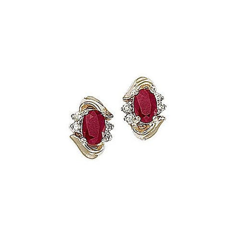 Diamond and Ruby 14kt Yellow Gold Earrings
