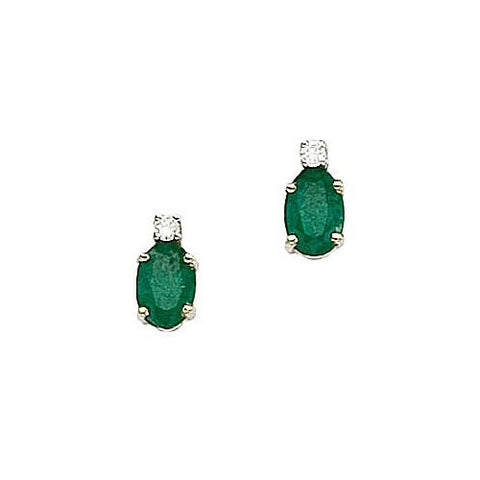14kt Yellow Gold Diamond, Oval Emerald Earrings