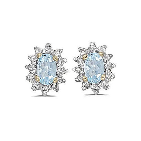 14kt Yellow Gold Diamond and Aquamarine Earrings 0.75ct TW