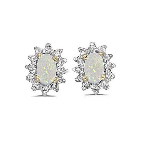 14kt Yellow Gold Diamond and Opal Earrings 0.65ct TW