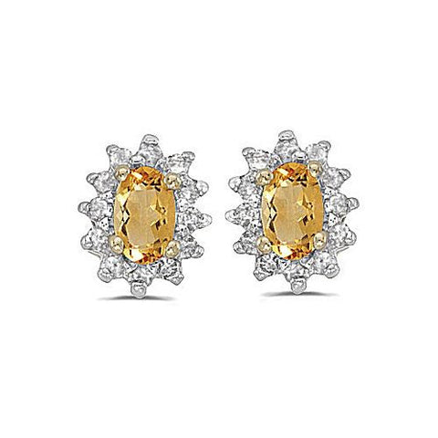 14kt Yellow Gold Diamond and Citrine Earrings 0.75ct TW
