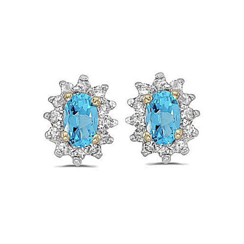 14kt Yellow Gold Diamond and Blue Topaz Earrings 0.85ct TW