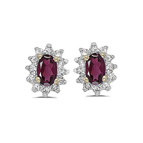 14kt Yellow Gold Diamond and Rhodolite Earrings 0.75ct TW
