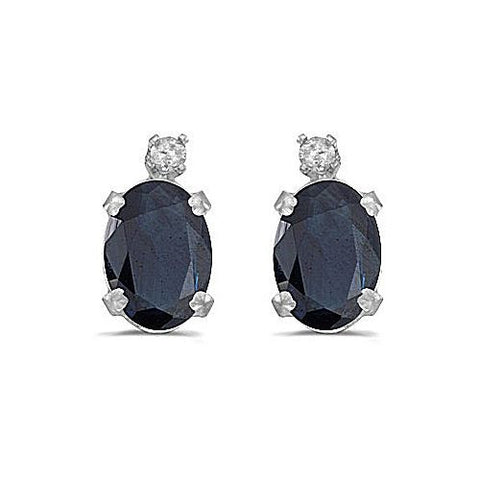 14kt White Gold Diamond and Oval Blue Sapphire Stud Earrings