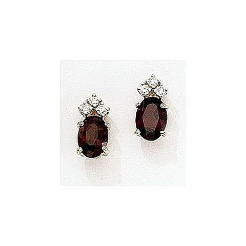 14kt Gold Diamond and Oval Garnet Earrings 2.05ct TW