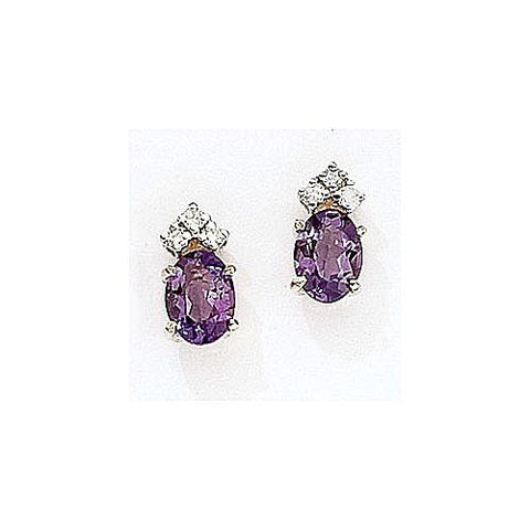 14kt Gold Diamond and Oval Amethyst Earrings 1.75ct TW