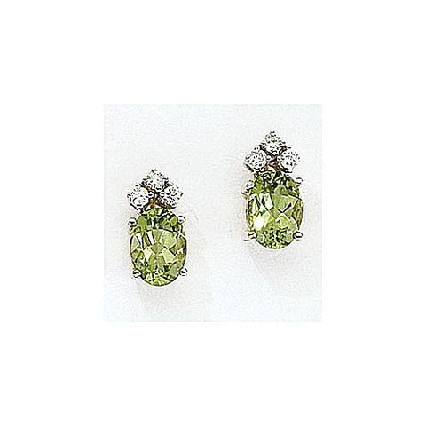 14kt Gold Diamond and Oval Peridot Earrings 1.95ct TW