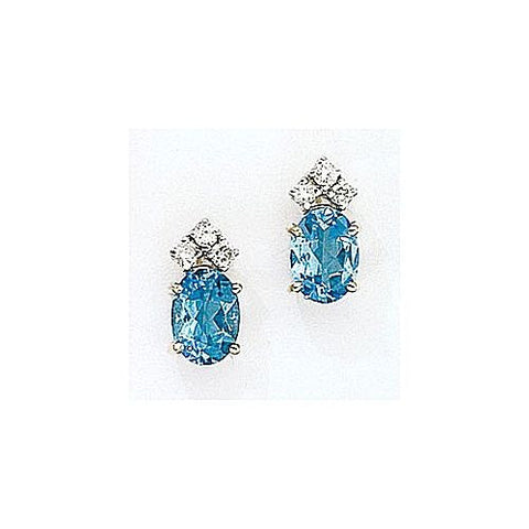 14kt Gold Diamond and Oval Blue Topaz Earrings 2.15ct TW