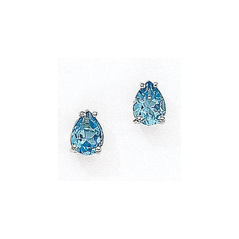 14kt White Gold Pearshape Blue Topaz Stud Earrings