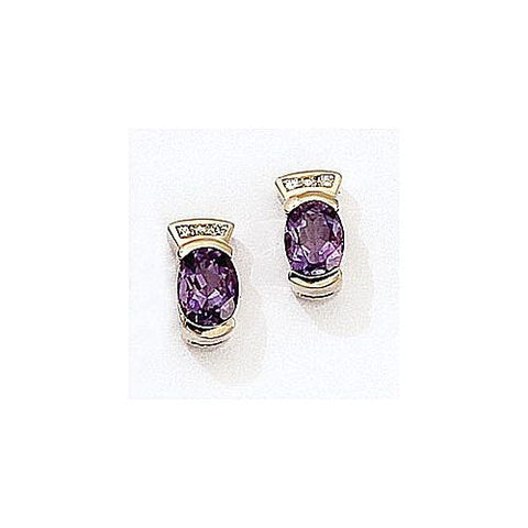 14kt Gold Diamond and Amethyst Earrings 1.70ct TW