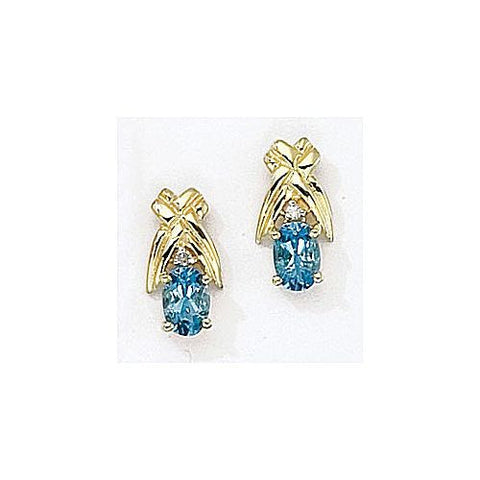 14kt Yellow Gold Diamond and Blue Topaz Earrings 1.15ct TW