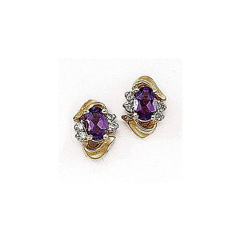 Diamond and Amethyst 14kt Yellow Gold Earrings 1ct TW
