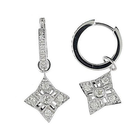 14kt W.G. Triangle Shape Dangle Diamond Hoop Earrings