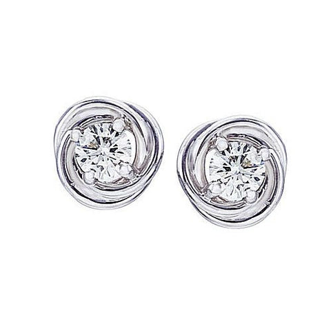 14kt White Gold 0.50ct Diamond Knot Earrings