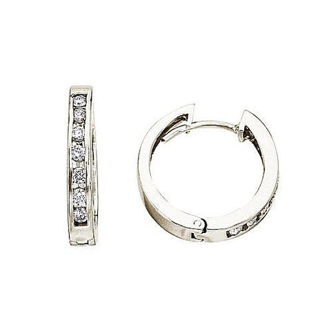 14kt White Gold 0.54ct Diamond Hoop Earrings