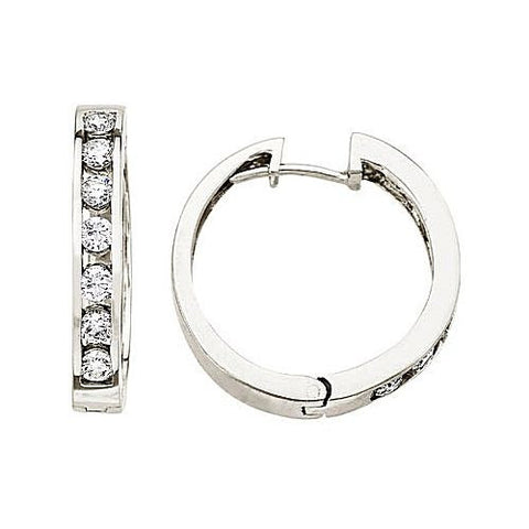 14kt White Gold 1.00ct Diamond Hoop Earrings