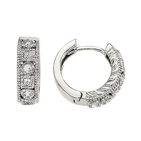 14kt White Gold 0.42ct Round and Princess Diamond Earrings