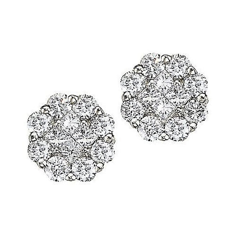 14kt White Gold 0.50ct Diamond Clustaire Earrings