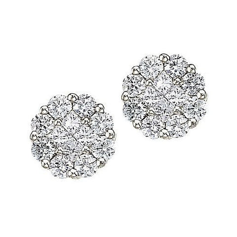 14kt White Gold 1.00ct Diamond Clustaire Earrings