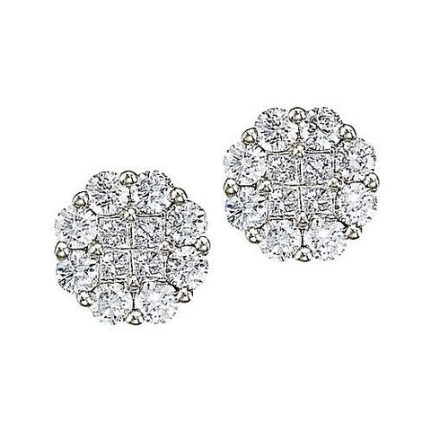 14kt White Gold 1.50ct Diamond Clustaire Earrings