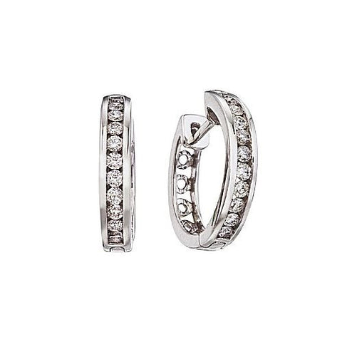 14kt White Gold 0.50ct Diamond Hoop Earrings