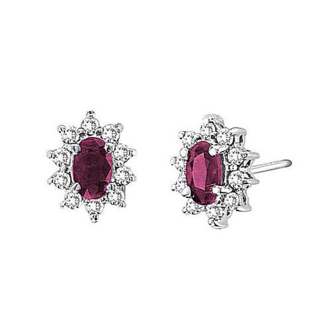 14kt White Gold Diamond and Oval Ruby Earrings