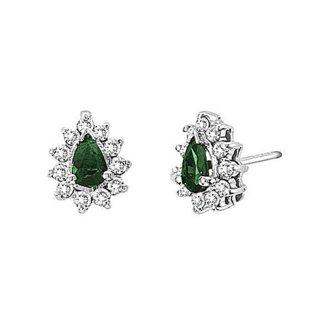 14k Gold Earrings with Diamonds and Pear Shape Emeralds