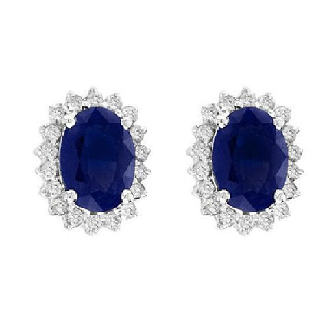 14kt White Gold Oval Sapphire and Diamond Earrings 2.25ctTW