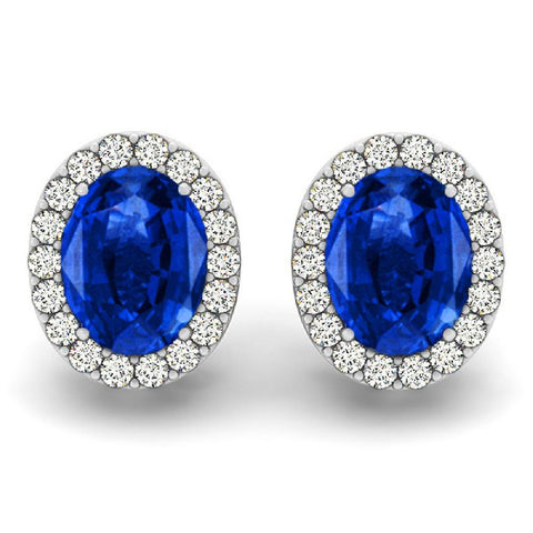 14kt White Gold Oval Blue Sapphire and Diamond Earrings