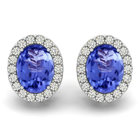 14kt White Gold Oval Tanzanite and Diamond Earrings