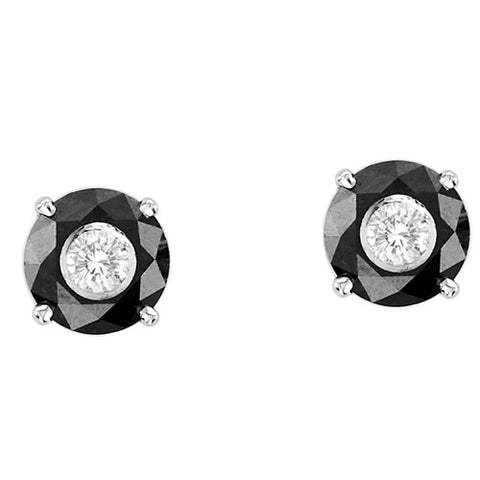 14kt White Gold Black and White Diamond Stud Earrings 2.25ct TW