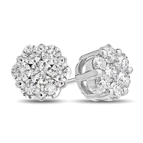 0.30cttw Diamonds Cluster Earring in 14k White Gold
